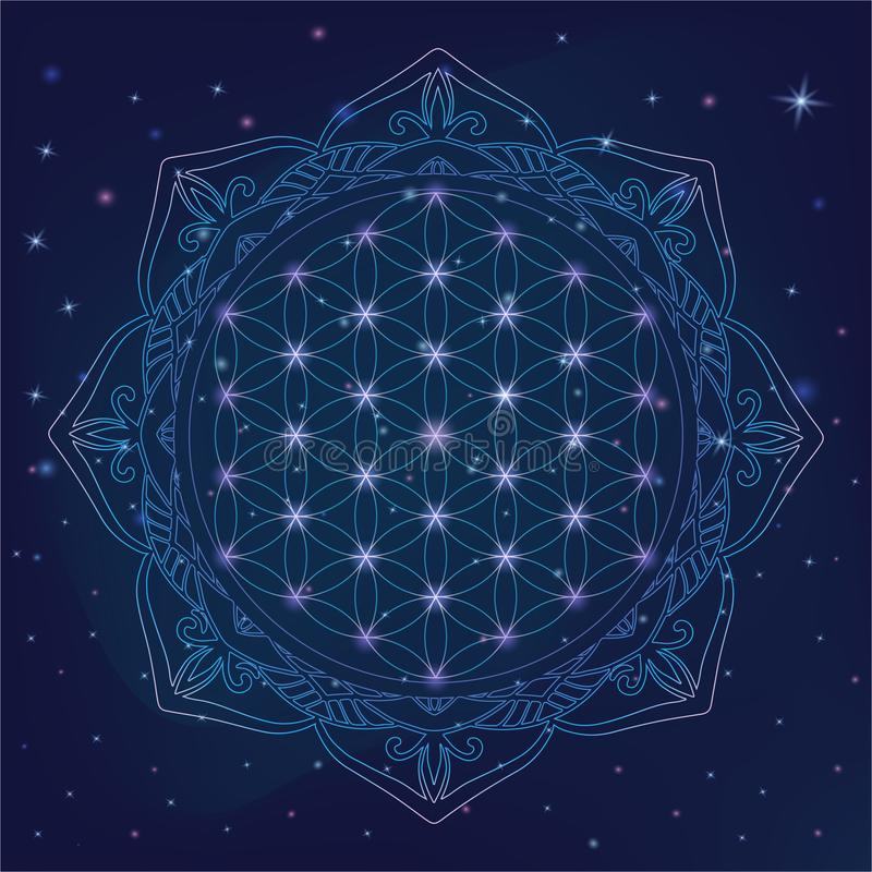 Blomma av liv, sakrala geometrisymboler och beståndsdelar för alkemi, andlighet, religion, filosofi, astrologilogo Skinande mysti stock illustrationer