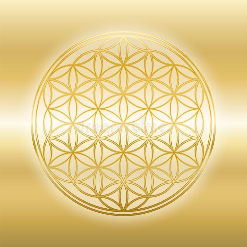Blomma av skinande guld- glimma glansig guld för liv royaltyfri illustrationer