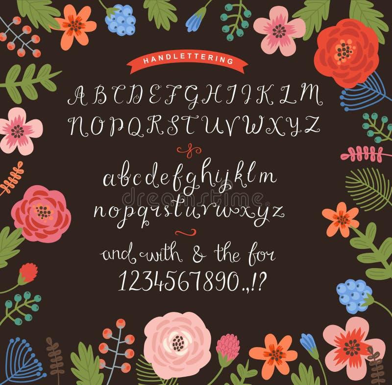 Blomma bakgrund med en uppsättning av handskrivna bokstäver royaltyfri illustrationer