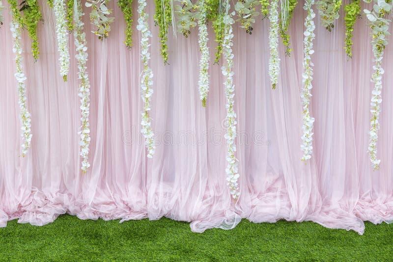 Blomma bakgrunden, bakgrunden i bröllopceremonin arkivfoto