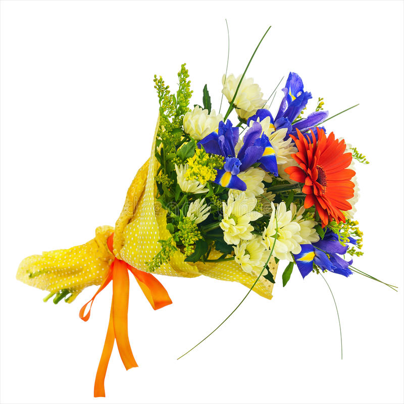 Blomma buketten från den isolerade gerberaen, irins och andra blommor royaltyfria foton