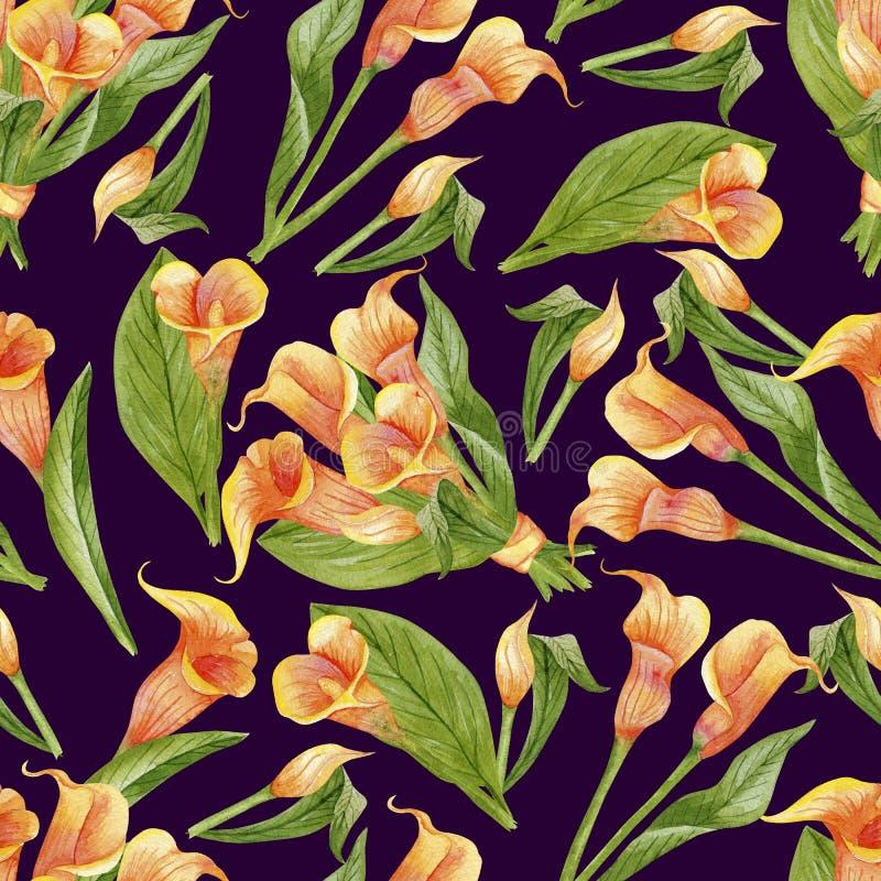 Blomma callas som är sömlösa på mörker stock illustrationer