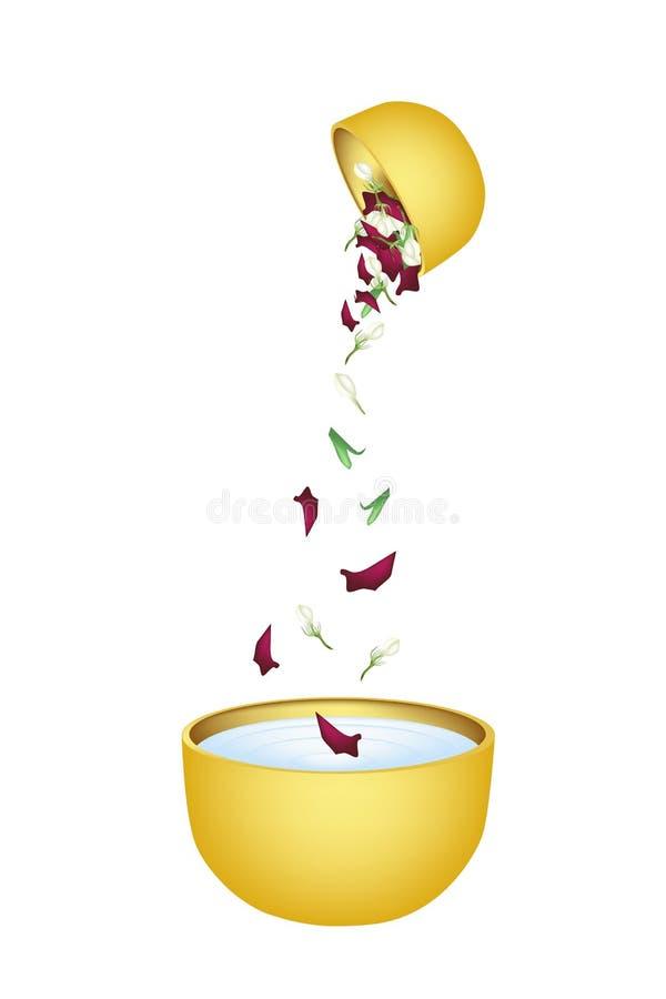 Blomma Corolla som faller i vattenbunken för Songkran  vektor illustrationer