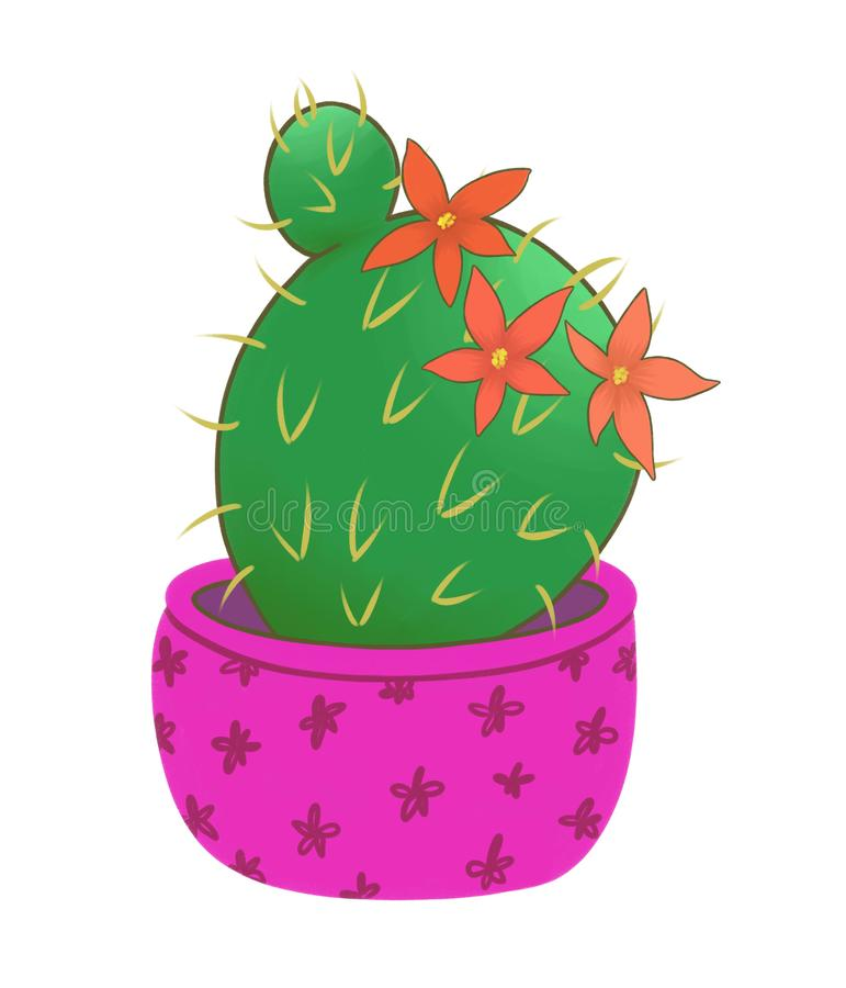Blomma den runda kaktuns i en rosa kruka stock illustrationer