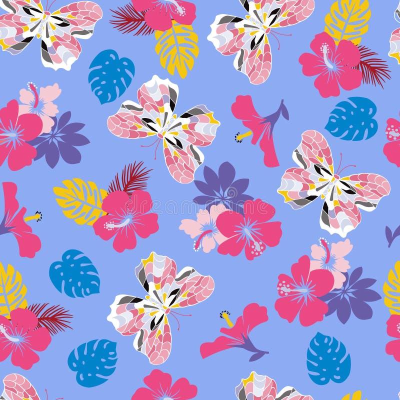 Blomma den sömlösa tropiska modellen för hibiskus- och flygfjärilar vektor illustrationer