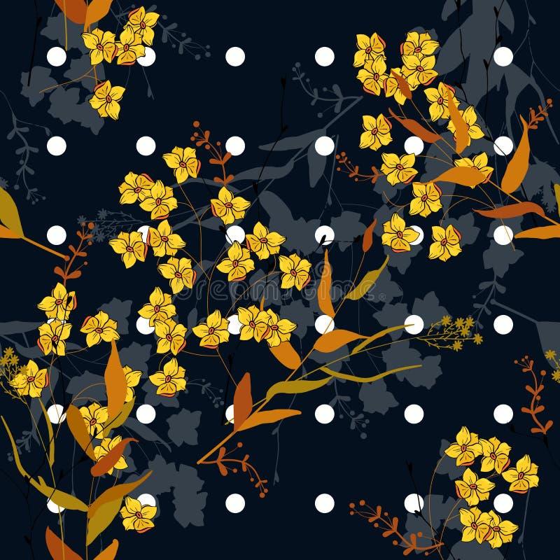 Blomma det lösa blom- memphis trycket också vektor för coreldrawillustration Sömlös modell för moderiktiga prickar med utdragna b vektor illustrationer