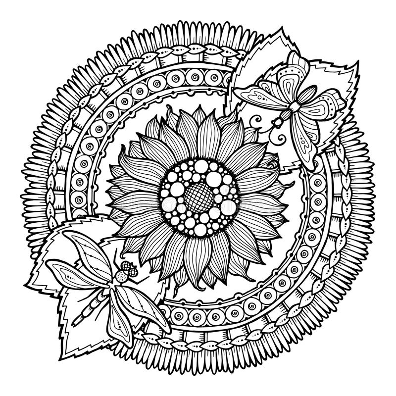 Blomma för cirkelsommarklotter i mandala vektor illustrationer