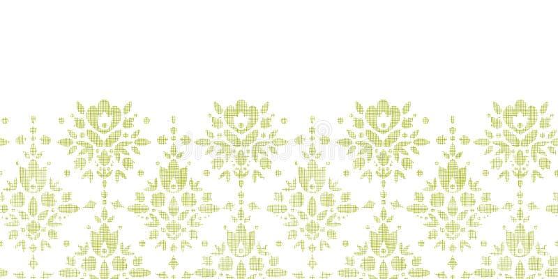 Blomma för grön textil för vektor horisontaldamast royaltyfri illustrationer