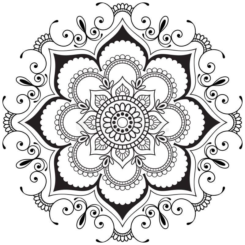 Blomma för henna för Mehndi mandala indisk i indisk stil för tatoo och kort stock illustrationer