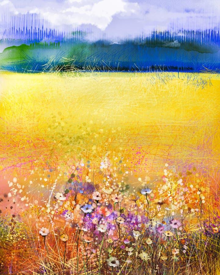 Blomma för kosmos för abstrakt vattenfärgmålning purpurfärgad royaltyfri illustrationer