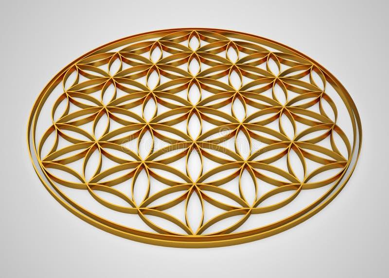 blomma för tecken 3D av livguld på grå bakgrund royaltyfri illustrationer