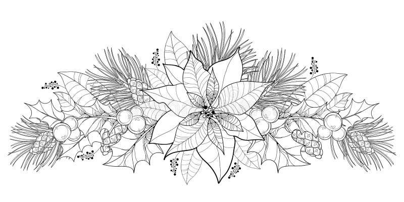 Blomma för vektorkonturjulstjärna eller julstjärna i svart som isoleras på vit Horisontalgräns med översiktsjulstjärnan royaltyfri illustrationer