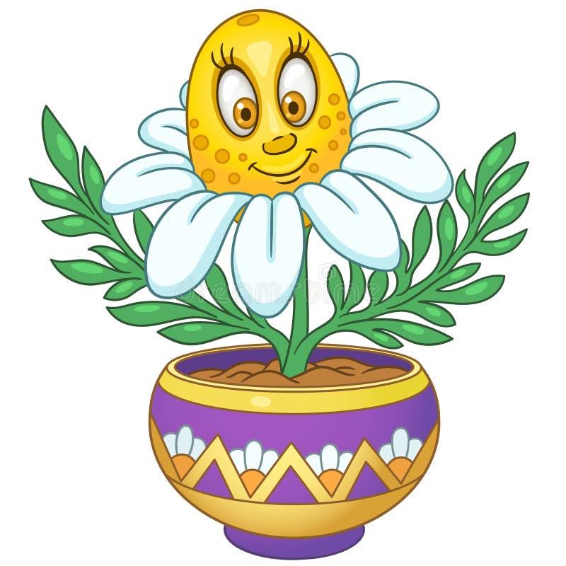 Blomma för vit tusensköna för tecknad film royaltyfri illustrationer