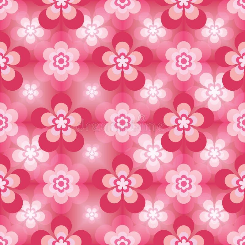 Blomma fem sex sömlösa modell för rosa färgeffekt royaltyfri illustrationer