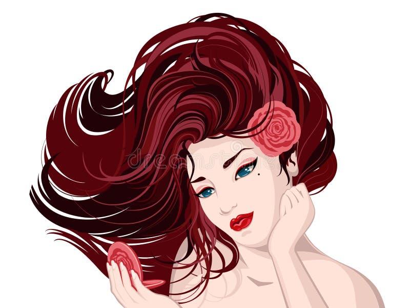 blomma flödaflickan, hår sompinken steg royaltyfri illustrationer