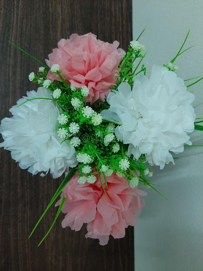 blomma från plastpåsen royaltyfri fotografi