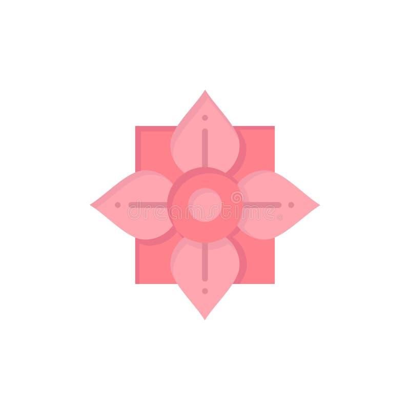 Blomma garnering, Kina, kinesisk plan färgsymbol Mall för vektorsymbolsbaner royaltyfri illustrationer