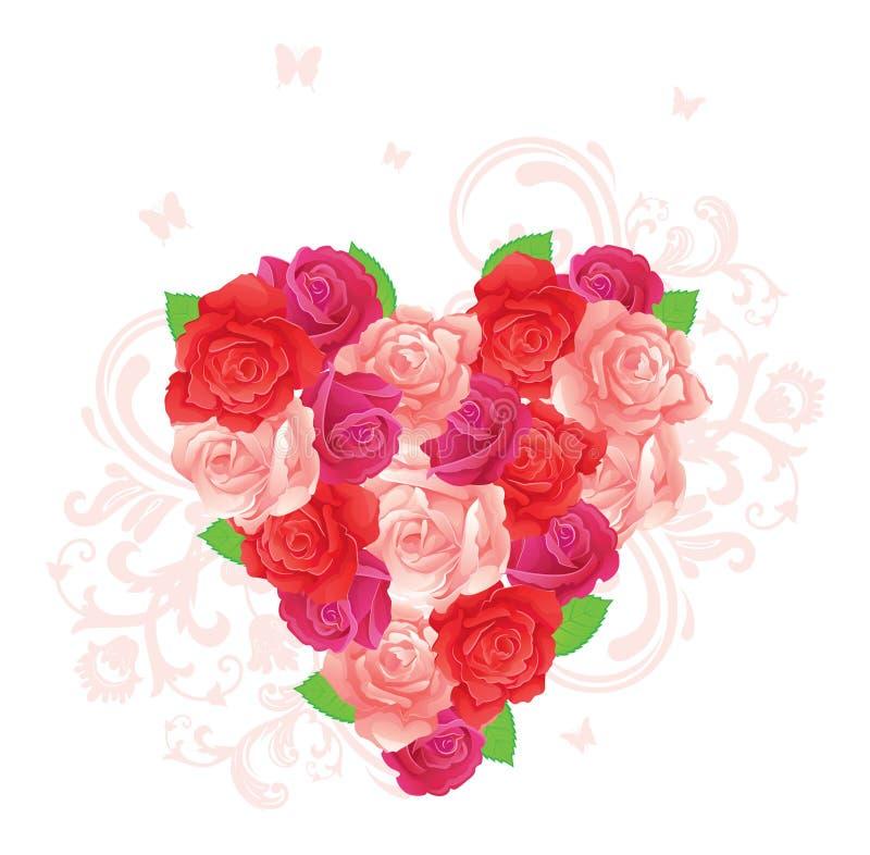 blomma hjärta stock illustrationer