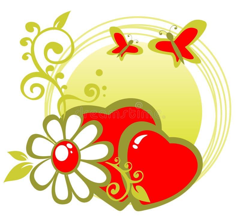 blomma hjärtor stock illustrationer