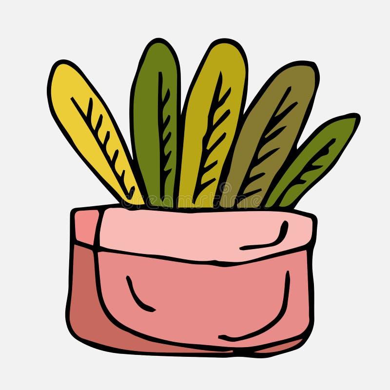 Blomma i en rosa kruka En samling av beståndsdelar som dras av handen Isolat p? vit royaltyfri illustrationer