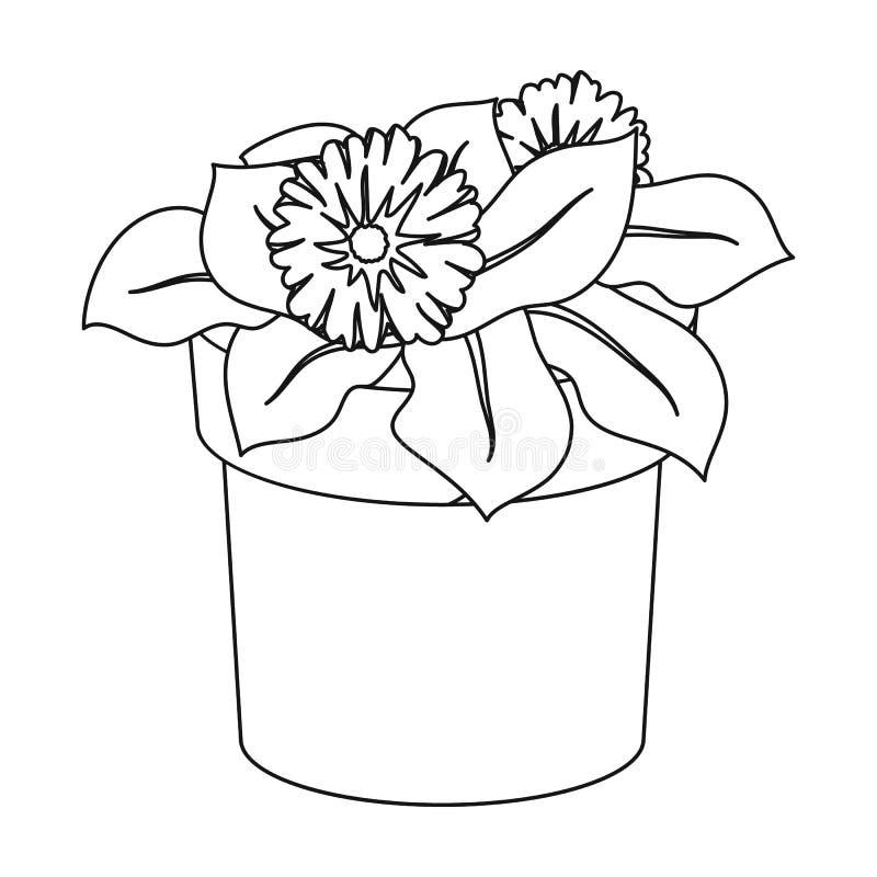 Blomma i krukasymbolen i översiktsstil som isoleras på vit bakgrund Bio och för ekologisymbolmateriel för vektor illustration stock illustrationer