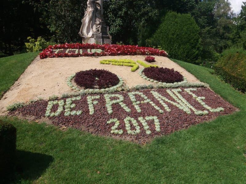 Blomma i Le Puy en Velay för Touret De France arkivbild