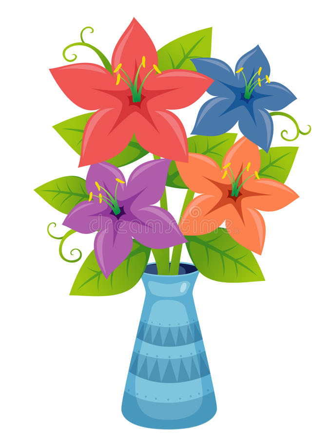 Blomma i vase   vektor illustrationer