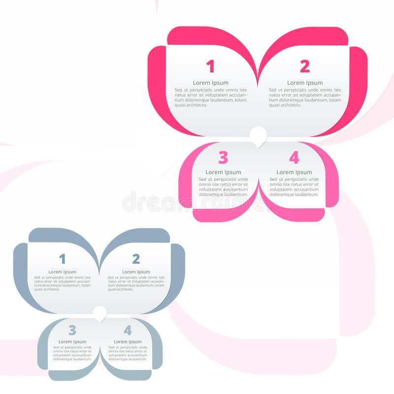 Blomma Infographics, färgrik fjäril, alternativ 4 eller momentprocessdiagram som är ideala för presentation för företags affär stock illustrationer