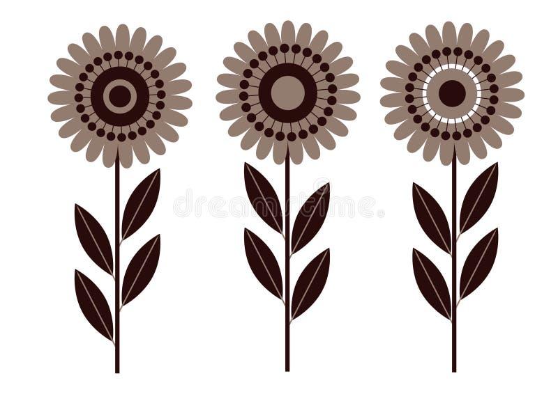 Blomma isolerat retro vektor illustrationer