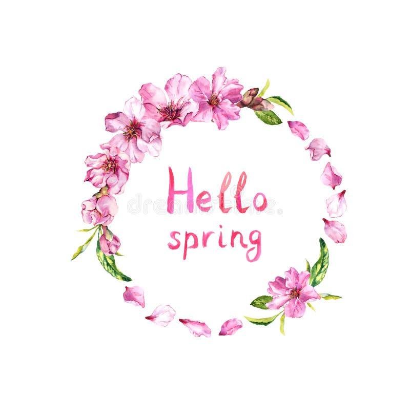 Blomma körsbärsrött träd, äppleblomning, vårkronblad av rosa blommor Blom- krans, anmärkningsHello vår Vattenfärgrunda vektor illustrationer