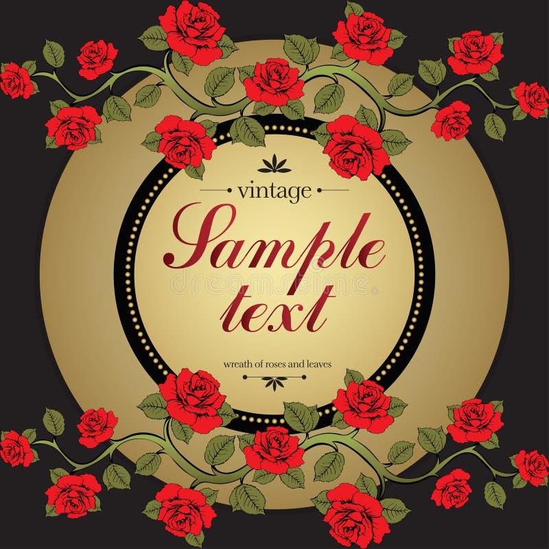 Blomma kortet, täcka, blommaramen, banret, guld- gräns stock illustrationer