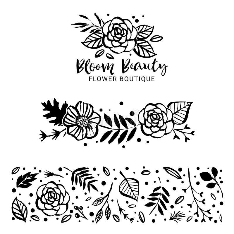 Blomma Logo Template Blomskönhet Blommor, filialer och tjänstledigheter stock illustrationer