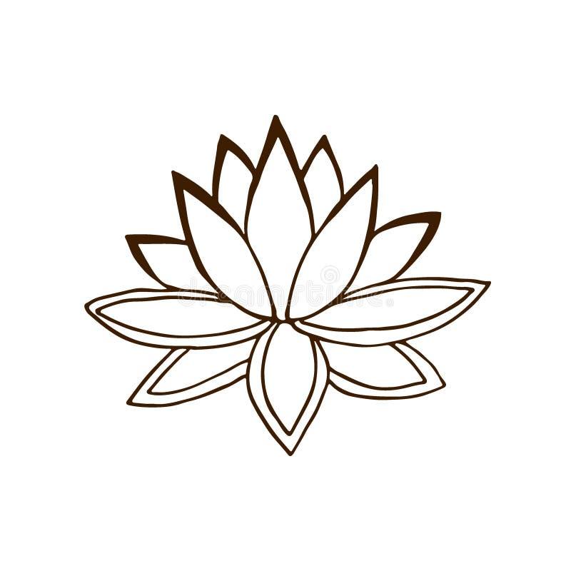 blomma lotusblomma Handdranlogo Sommarvektorillustration stock illustrationer