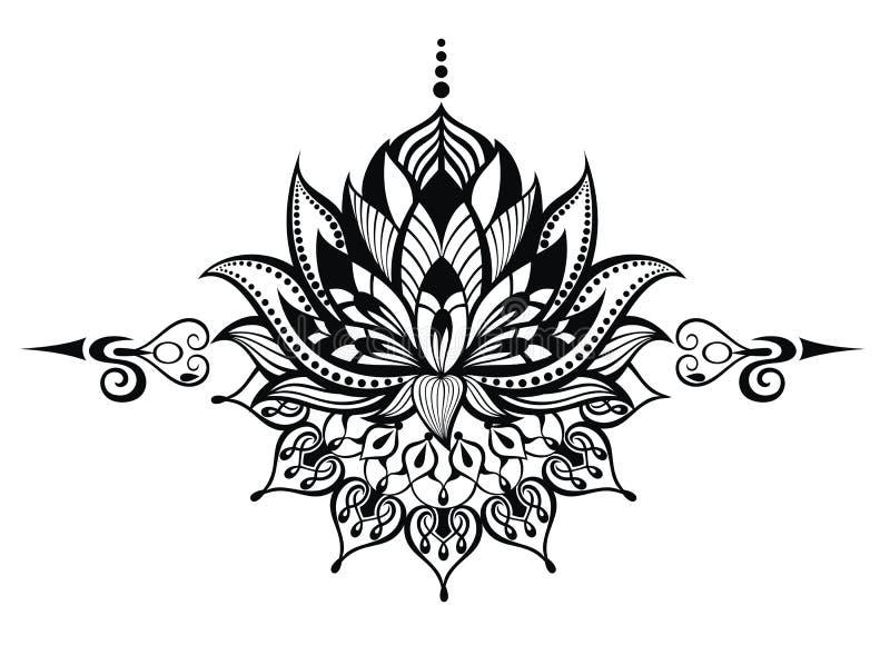 blomma lotusblomma Tatuering stock illustrationer