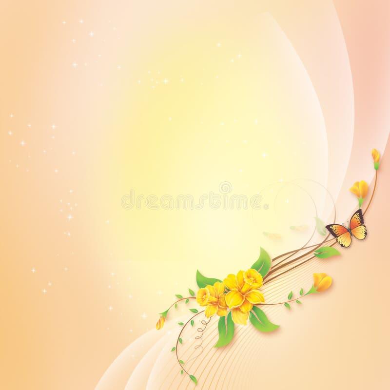 Blomma med abstrakt bakgrund för hälsningkort stock illustrationer