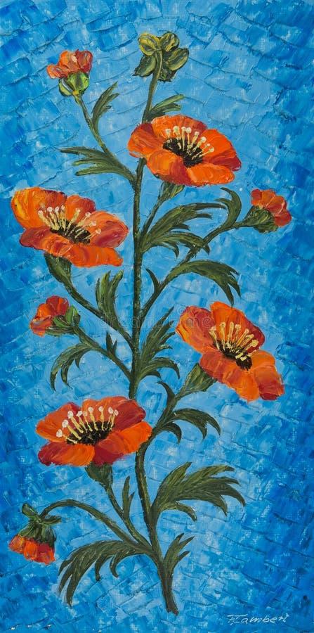 Blomma med apelsinblomningar och blå bakgrund royaltyfri illustrationer