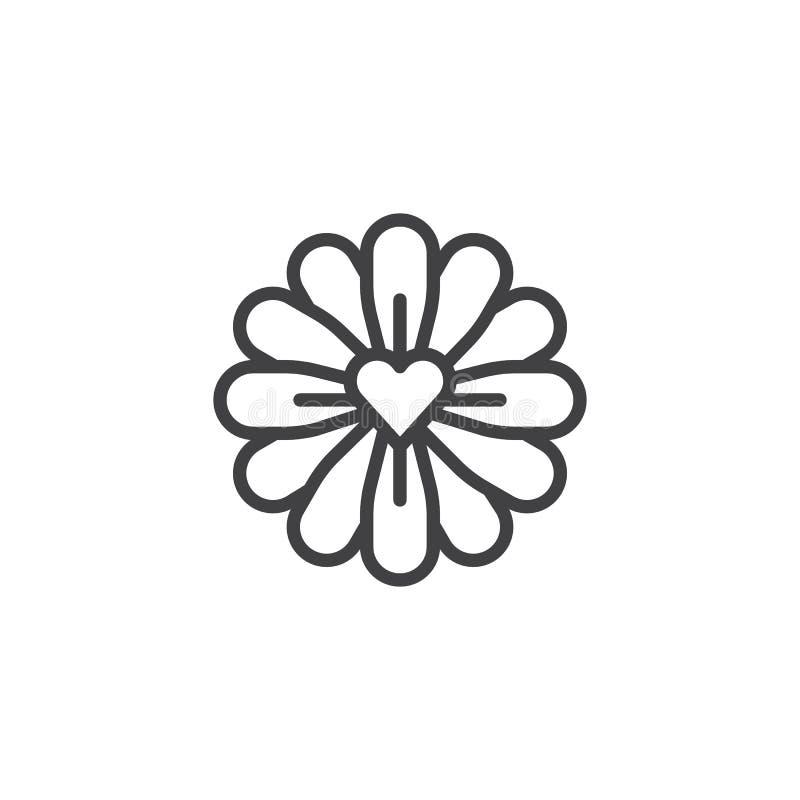 Blomma med förälskelsehjärtalinjen symbol royaltyfri illustrationer