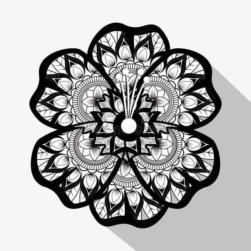 Blomma med mandalabohostil royaltyfri illustrationer