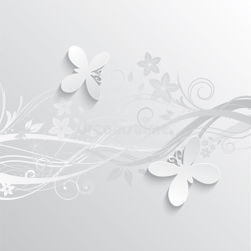 Blomma- och fjärilsbakgrund stock illustrationer
