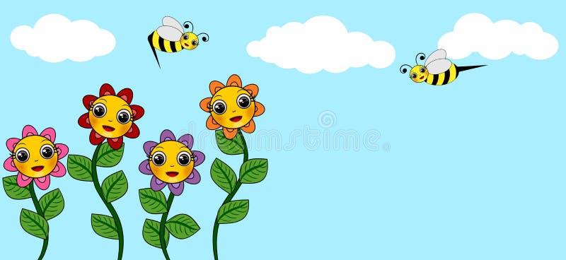 Blomma- och himmelillustrationer royaltyfri illustrationer