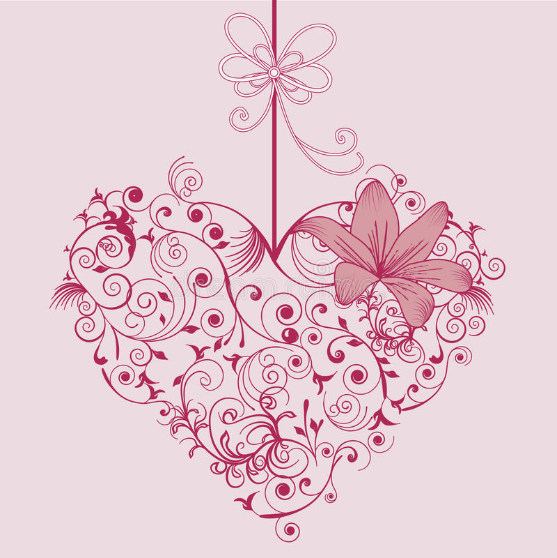 Blomma och hjärta vektor illustrationer