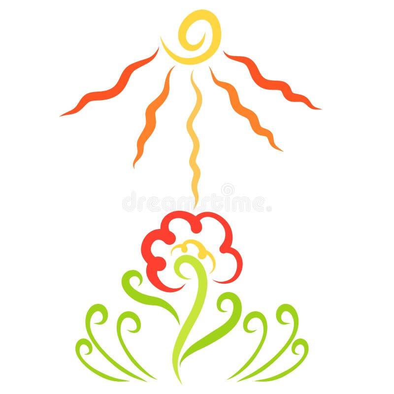 Blomma och ljus sol, solig dag, modell stock illustrationer