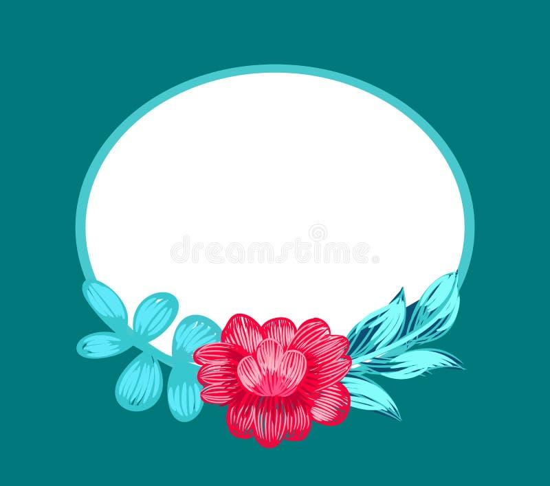 Blomma och Oval formad ramvektorillustration stock illustrationer