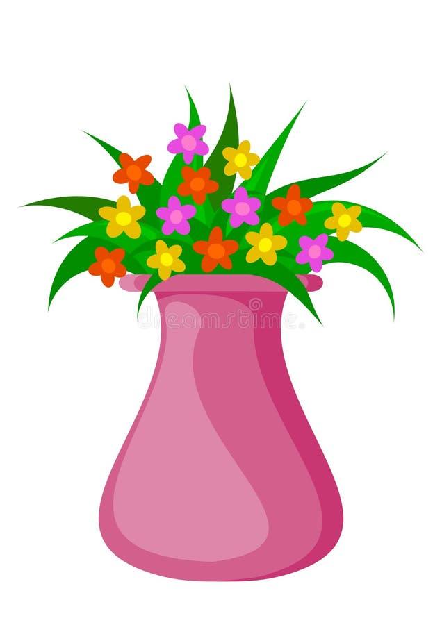 Blomma- och vasillustrationvektor stock illustrationer