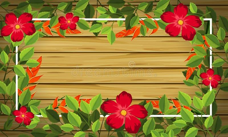 Blomma på träbakgrund vektor illustrationer