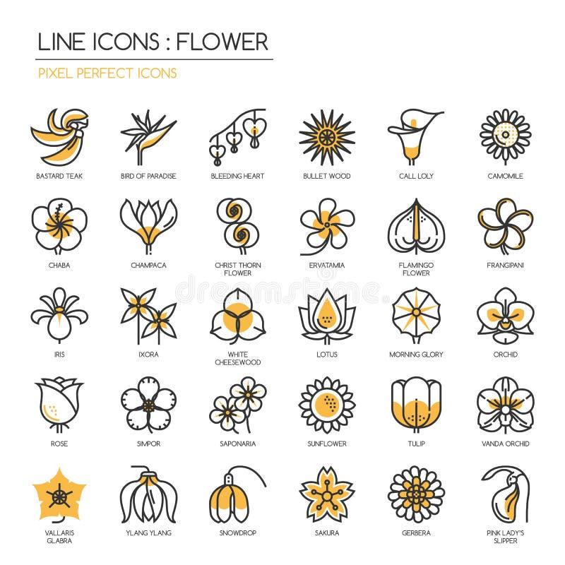 Blomma perfekta symboler för PIXEL vektor illustrationer
