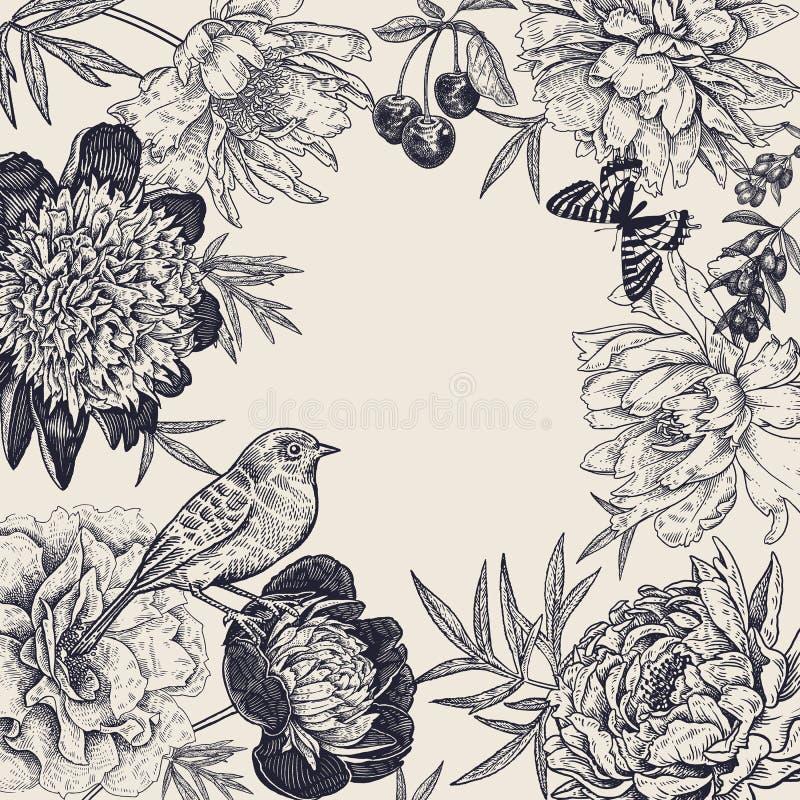 Blomma pioner, bär, fåglar och fjärilar 3d h?rligt dimensionellt diagram tappning f?r ramillustration tre mycket stock illustrationer