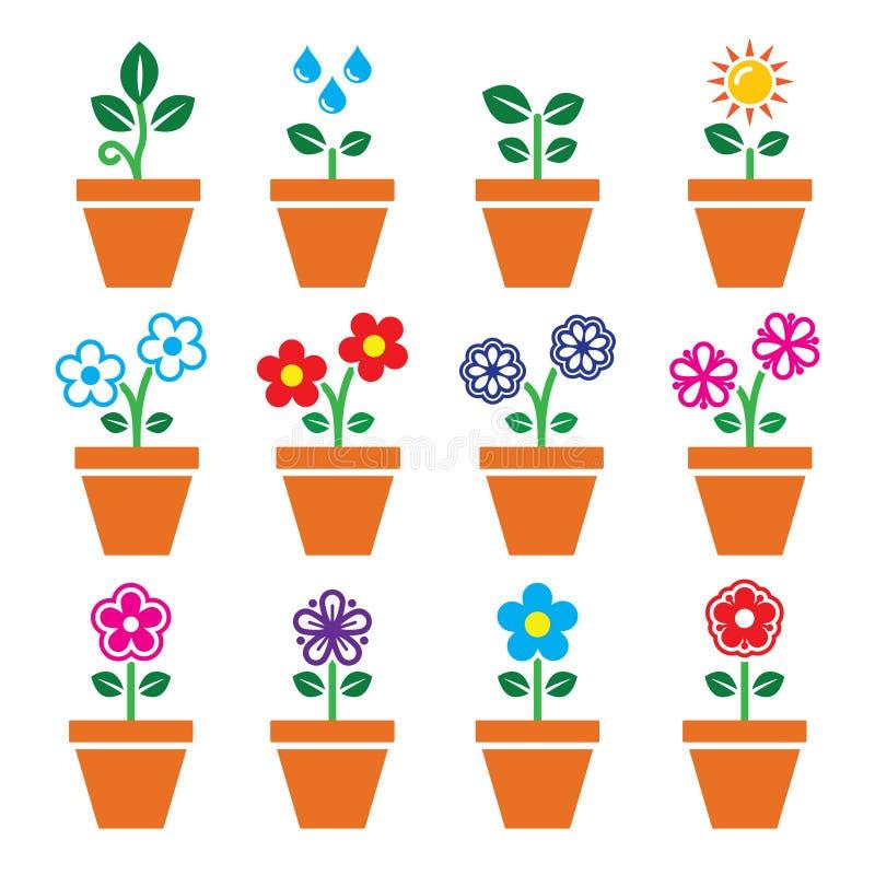 Blomma, plantera i färgrik symbolsuppsättning för kruka vektor illustrationer