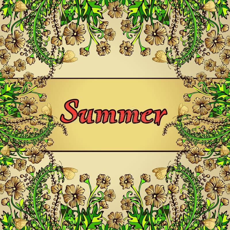 Blomma ramen, den guld- gränsen, kortet, sommarprydnad i stilbohostilen vektor illustrationer