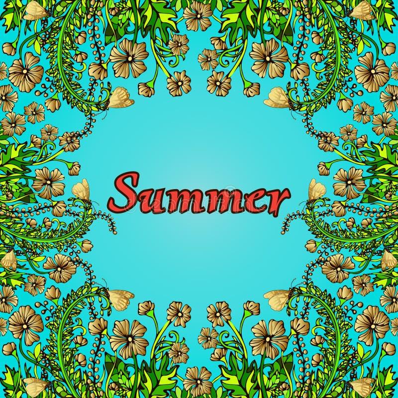 Blomma ramen, den guld- gränsen, kortet, sommarprydnaden i stilbohostilen, hippie Abstrakt guld blommar på en blå bakgrund stock illustrationer